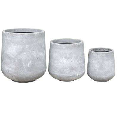 17.3 in. Tall Natural Lightweight Concrete Footed Tulip Outdoor Round Planter (Set of 3)