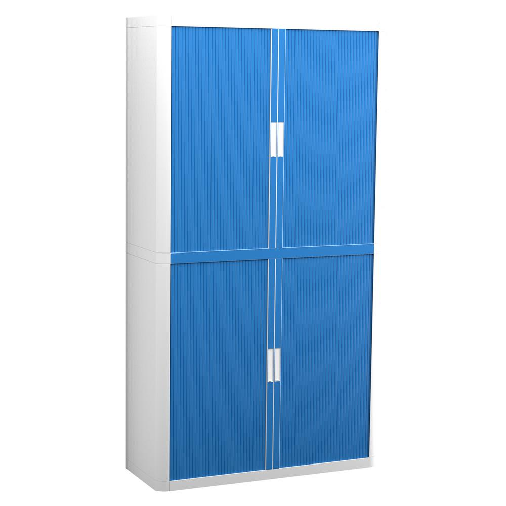 Paperflow easyOffice 80 in. Tall with 4-Shelves White and Blue Storage