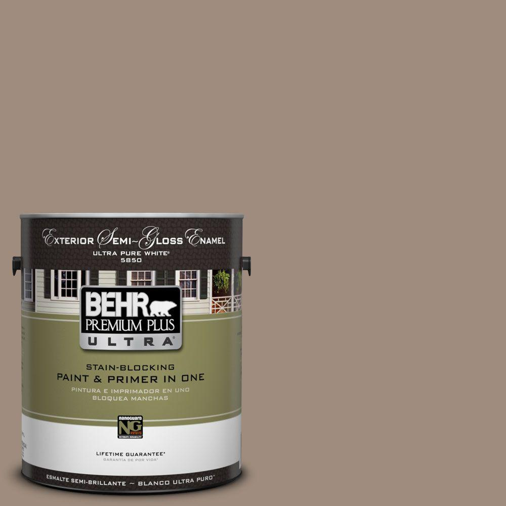 BEHR Premium Plus Ultra 1-Gal. #UL140-6 Antique Leather Semi-Gloss Enamel Exterior Paint