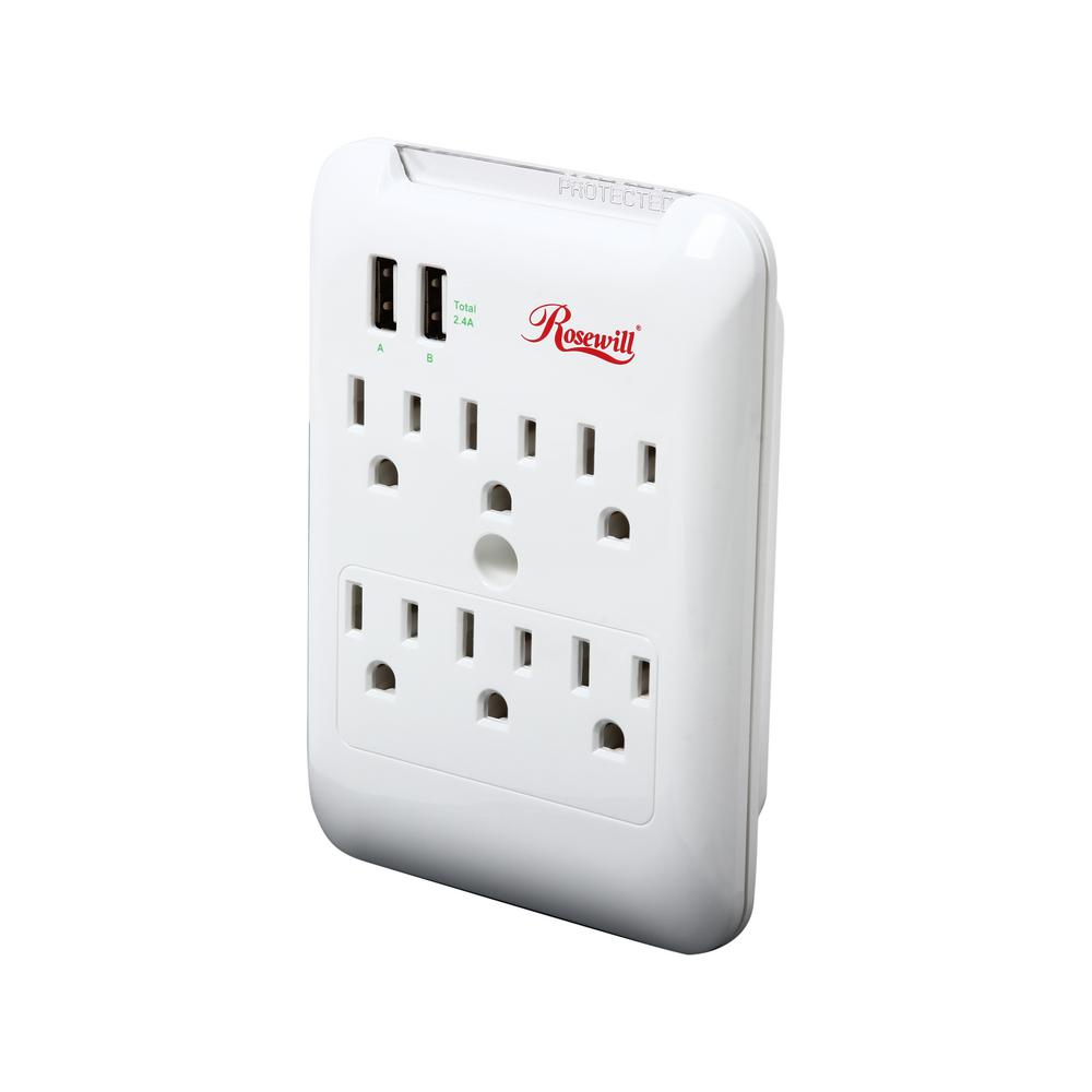 rosewill 6 outlet wall power strip surge protector with 2 usb ports rh homedepot com