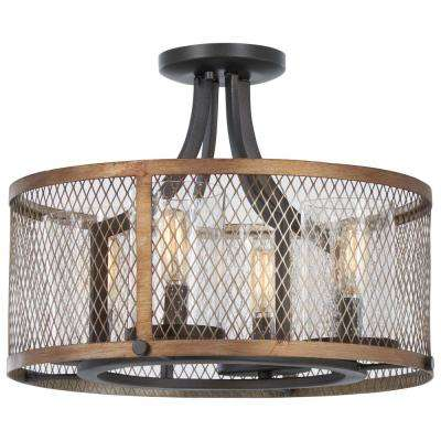 Marsden Commons 4-Light Smoked Iron with Aged Gold Semi-Flushmount with Clear Seedy Glass