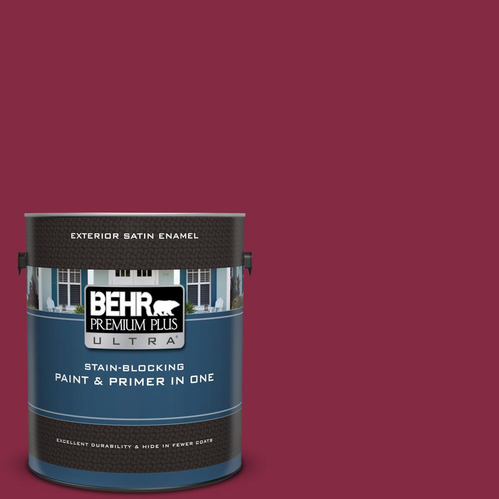 BEHR Premium Plus Ultra 1 gal  #S-H-120 Antique Ruby Satin Enamel Exterior  Paint and Primer in One