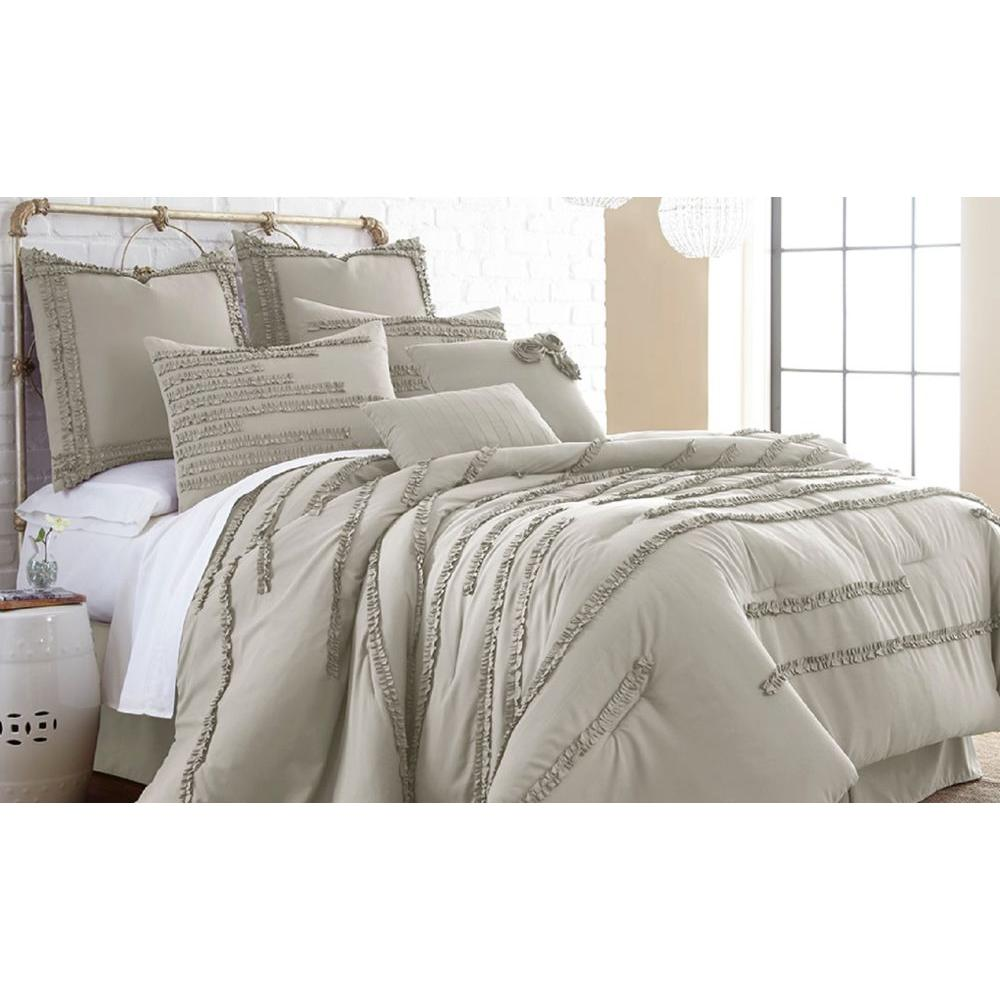 Pacific Coast Textiles Collette Linen 8-Piece Embellished Queen Comforter set