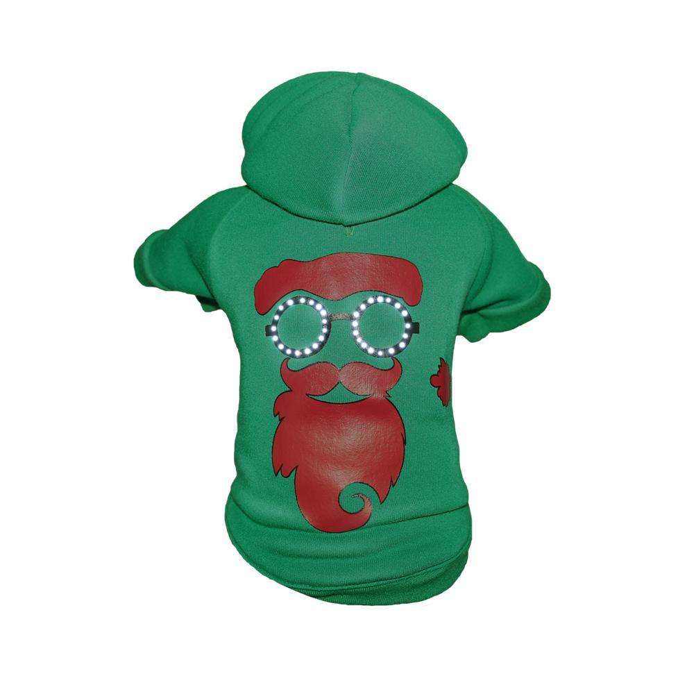 Large Green LED Lighting Cool Santa Shades Hooded Sweater Pet Hoodie