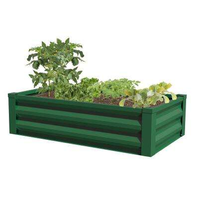 24 in. W x 48 in. L x 10 in. H Forest Green Pre-Galvanized Powder-Coated Steel Raised Garden Bed Planter