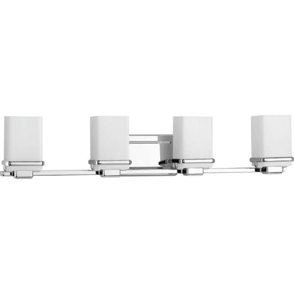 Metric Collection 4-Light Polished Chrome Bathroom Vanity Light with Glass Shades