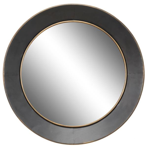 Round Industrial 30 in. x 30 in. Metal Wall Mirror with Metallic Gold Trim