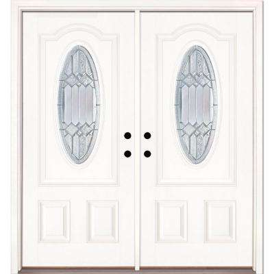 66 in. x 81.625 in. Mission Pointe Zinc 3/4 Oval Lite Unfinished Smooth Left-Hand Fiberglass Double Prehung Front Door