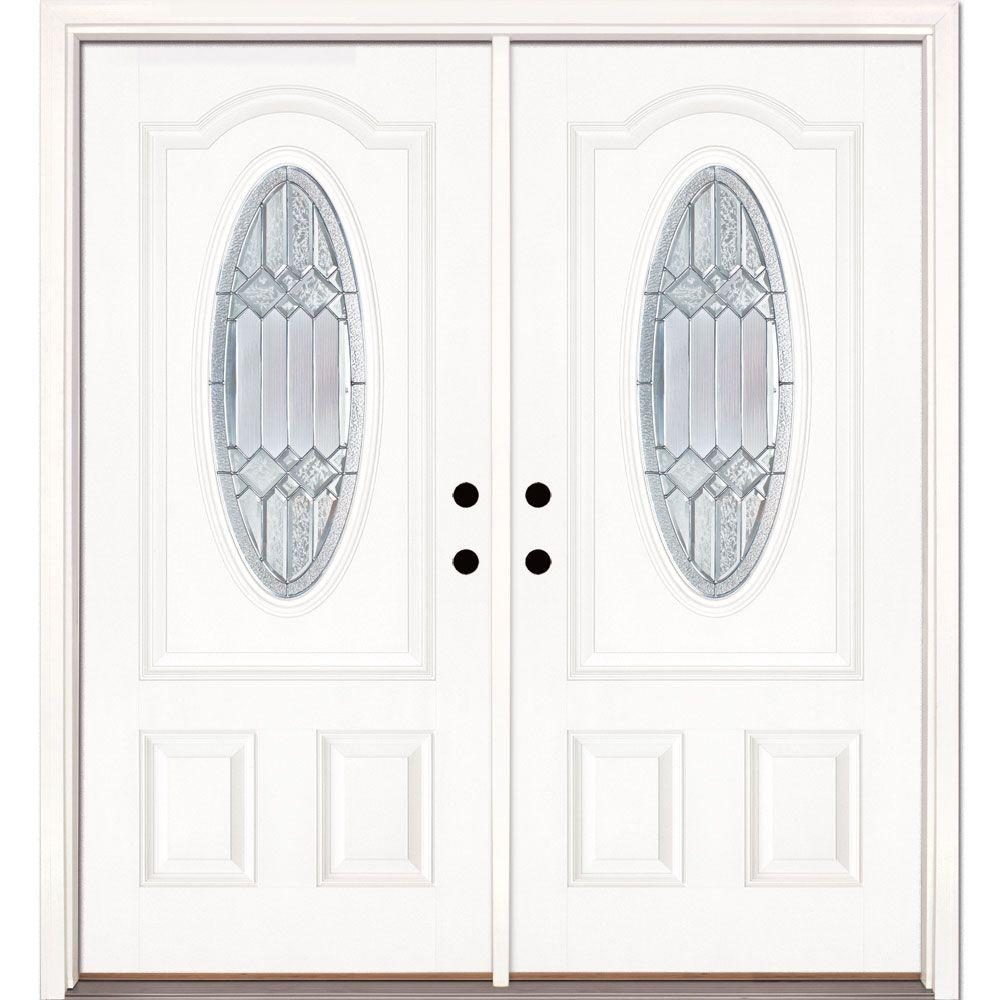 Feather River Doors 74 in. x 81.625 in. Mission Pointe Zinc 3/4 Oval Lite Unfinished Smooth Right-Hand Fiberglass Double Prehung Front Door