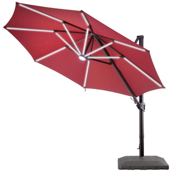 11 ft. Cantilever Umbrella with Solar Power LED Lights in Cherry