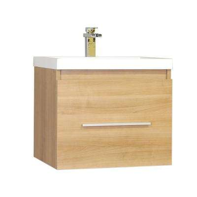 The Modern 23.5 in. W x 18.75 in. D Bath Vanity in Light Oak with Acrylic Vanity Top in White with White Basin