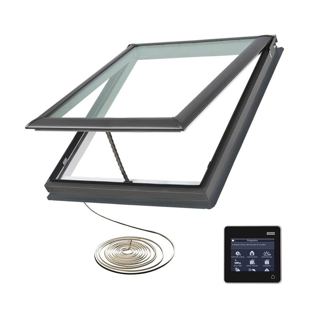 VELUX 21 in. x 26-7/8 in. Fresh Air Electric Venting Deck-Mount Skylight with Laminated LowE3 Glass