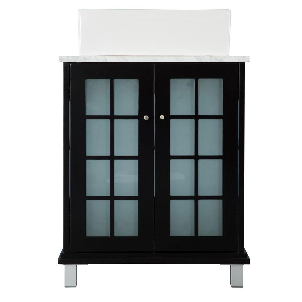 Home Decorators Collection Zen 23-3/4 in. W Bath Vanity in Espresso with Marble Vanity Top in Carrara