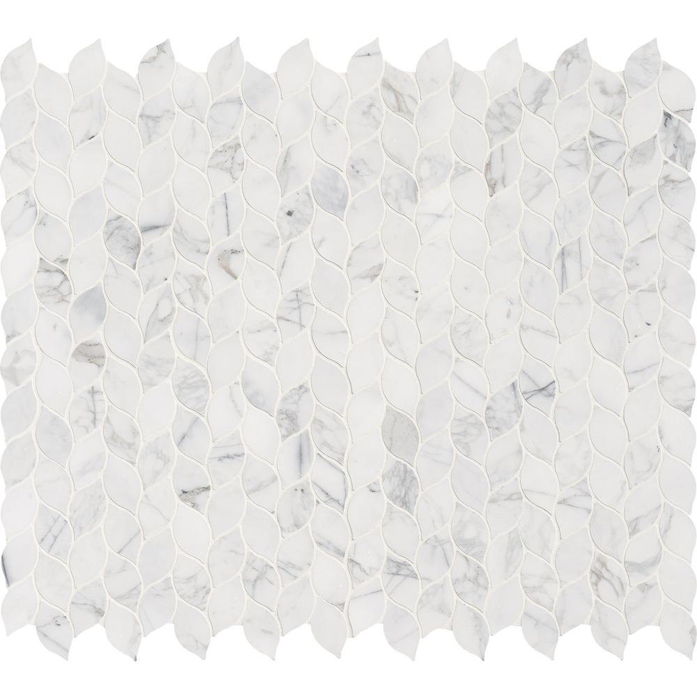 Calacatta Blanco 12 in. x 13 in. x 10mm Polished Marble Mesh-Mounted Mosaic Tile (10.80 sq. ft./case)