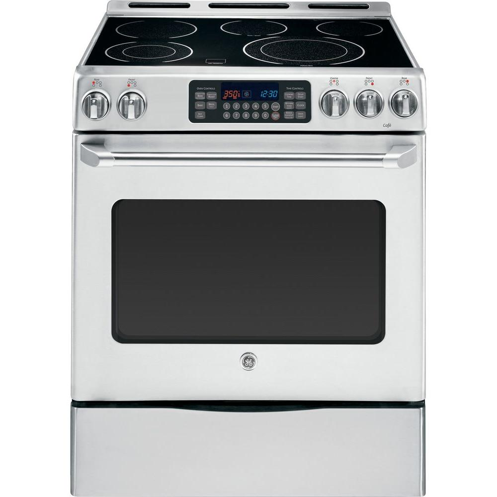 GE Cafe 30 in. 5.4 cu. ft. Electric Range with Self-Cleaning Convection Oven in Stainless Steel