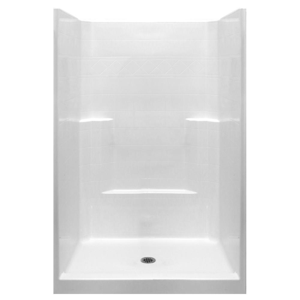 Ella Standard 42 in. x 42 in. x 80 in. 1-Piece Low Threshold Shower ...