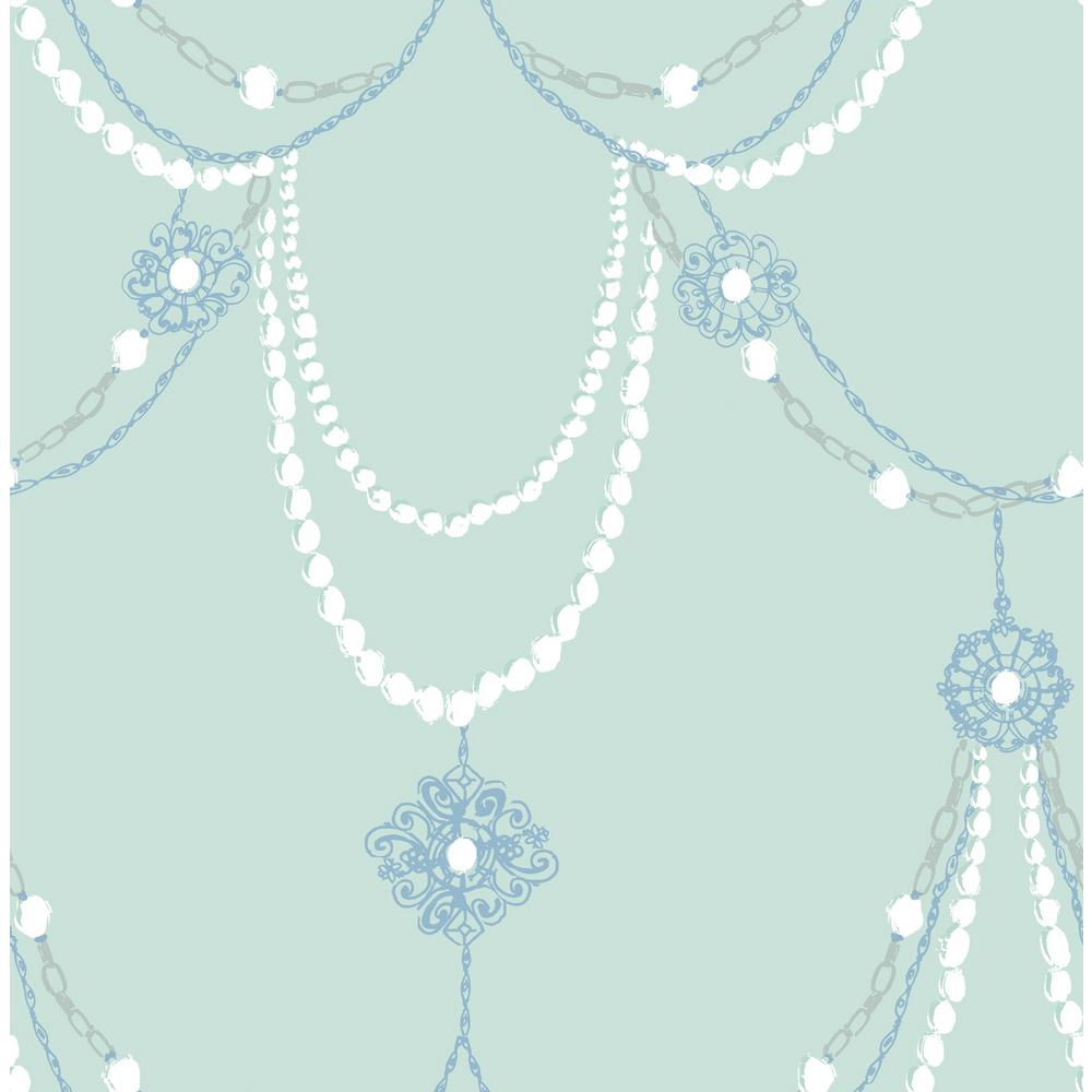 Kids Dressed Up Teal And Periwinkle Drape Wallpaper