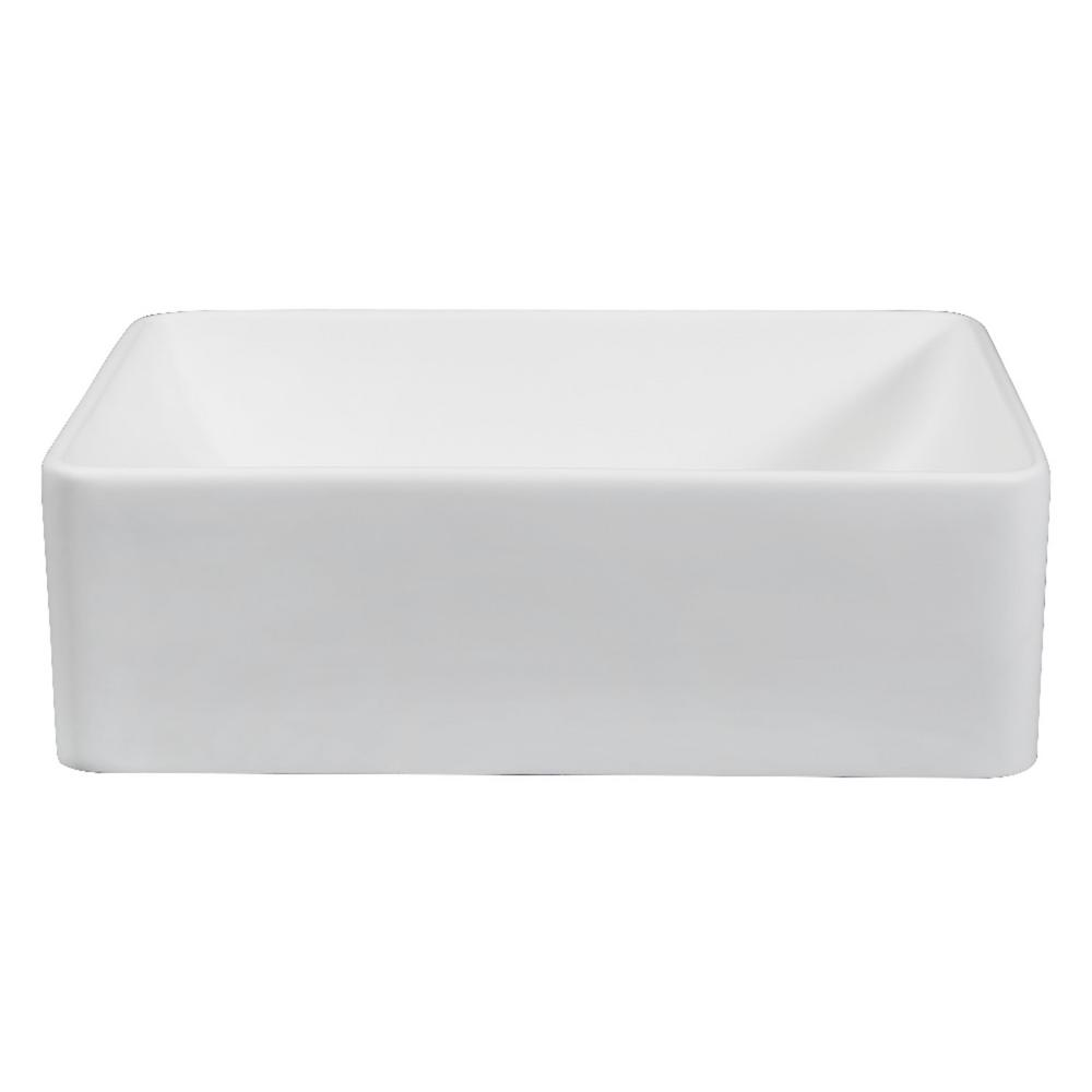 Everyly Solid Surface Vessel Bathroom Sink in White