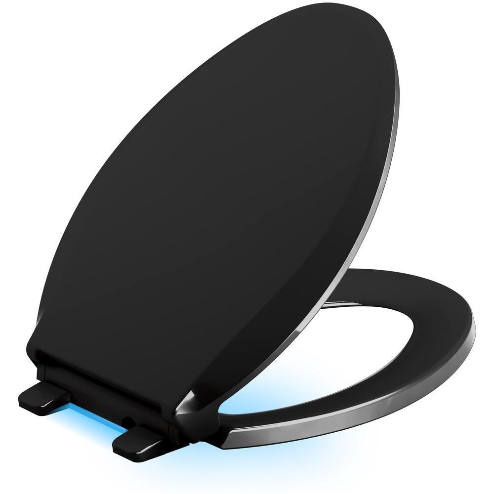Cachet LED Nightlight Elongated Quiet Closed Front Toilet Seat in Black Black