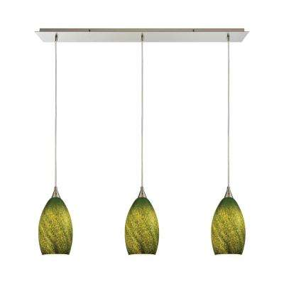 Globe transitional green pendant lights lighting the home earth 3 light satin nickel pendant with grass green glass aloadofball Image collections