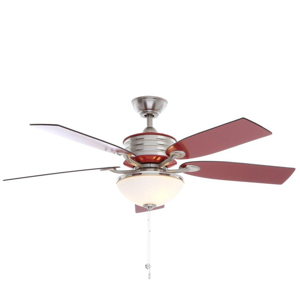Hampton bay santa cruz 52 in indoor brushed nickel ceiling fan with indoor brushed nickel ceiling fan with red accents and aloadofball Images