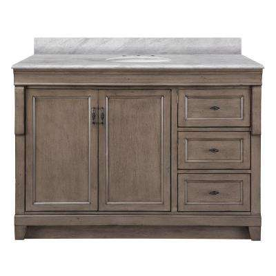 Naples 49 in. W x 22 in. D Bath Vanity in Distressed Grey with Right Drawers with Marble Vanity Top in Carrara White