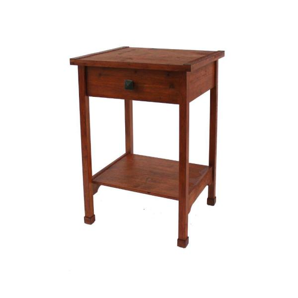 Rustic 24 in. H Brown Wooden End Table with 1-Drawer and 1-Bottom Shelf