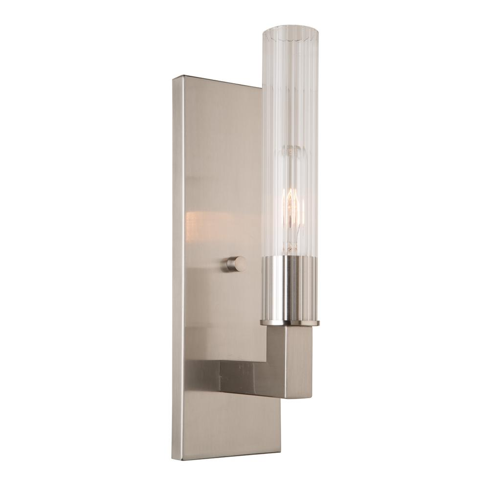ARTCRAFT Bentley 1-Light Brushed Nickel Sconce Plated in a rich brushed nickel with clear pleased glassware, the  Bentley  collection wall sconce is very elegant. (also available in oil rubbed bronze)