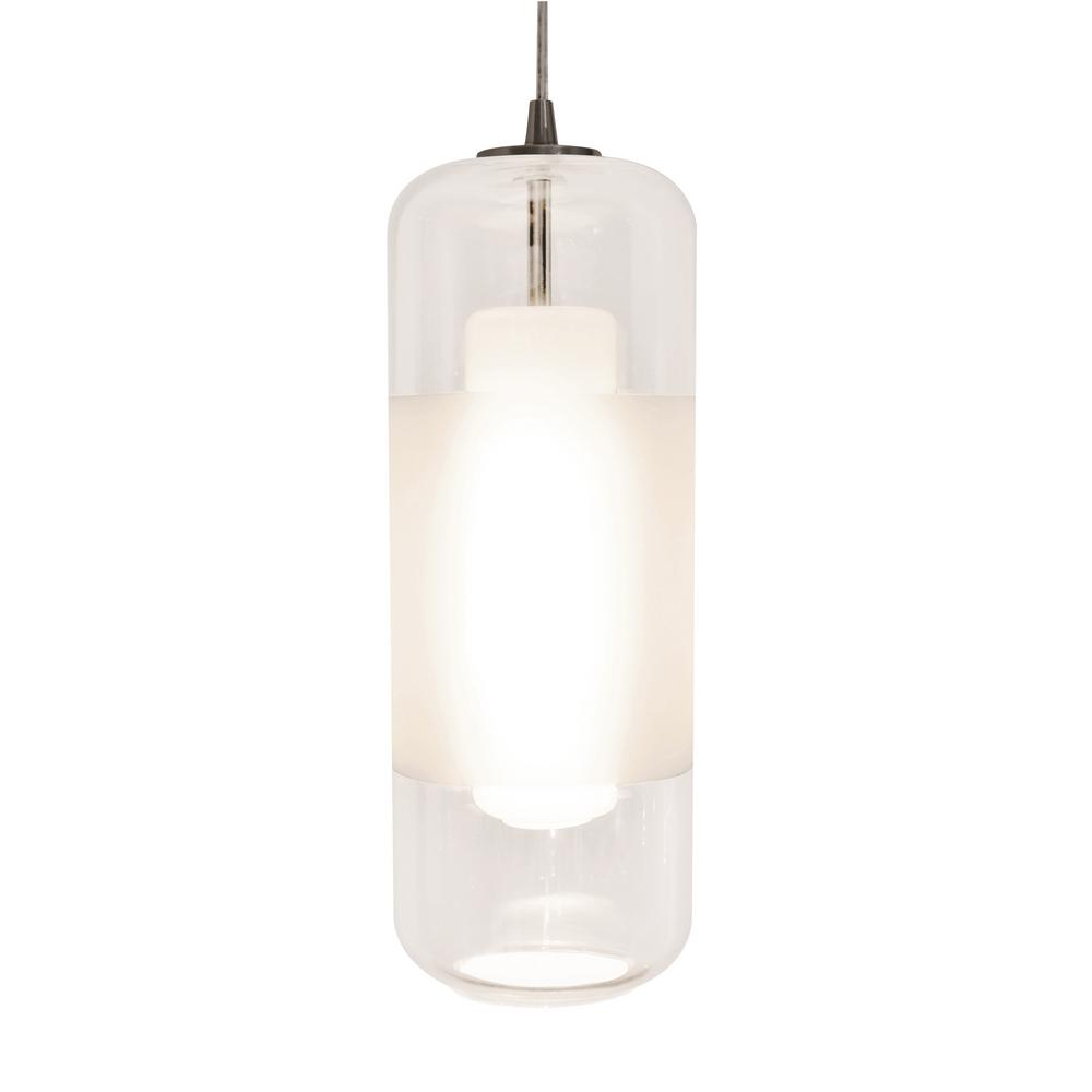 Afx Hermosa 10 Watt Integrated Led Satin Nickel Pendant With Glass Shade Hrp1000l40d1sncl The Home Depot
