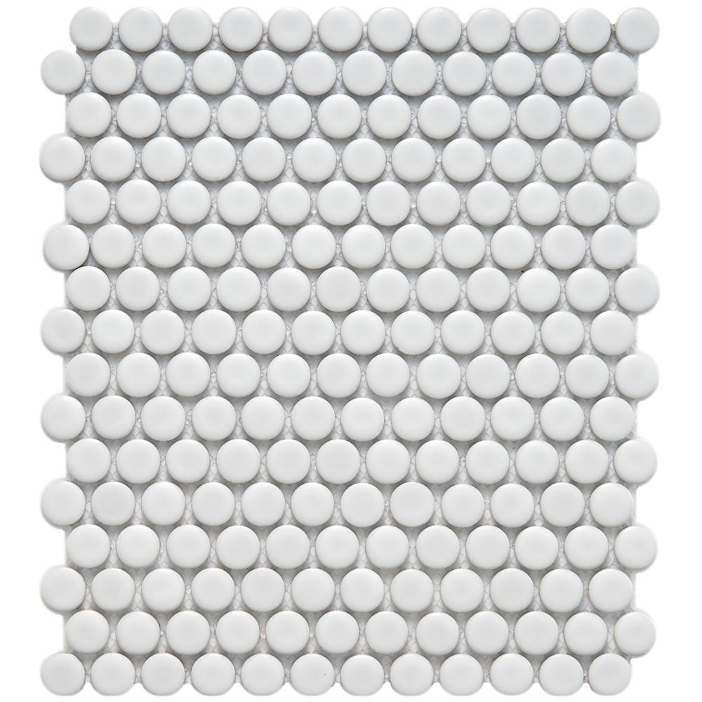 Merola Tile Metro Penny Matte White 9 3 4 In X 11 1 2 6 Mm Porcelain Mosaic 8 Sq Ft Case Fdxmpmw The Home Depot