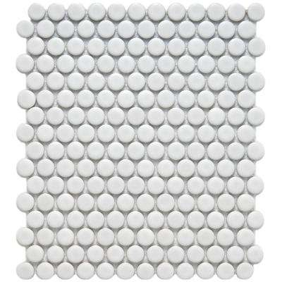 Metro Penny Matte White 9-3/4 in. x 11-1/2 in. x 6 mm Porcelain Mosaic Tile (8 sq. ft. / case)