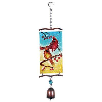 14 in. Glass Christmas Cardinal with Bell