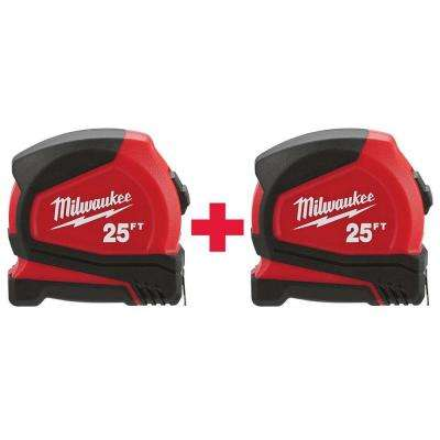 25 ft. Compact Tape Measure (2-Pack)