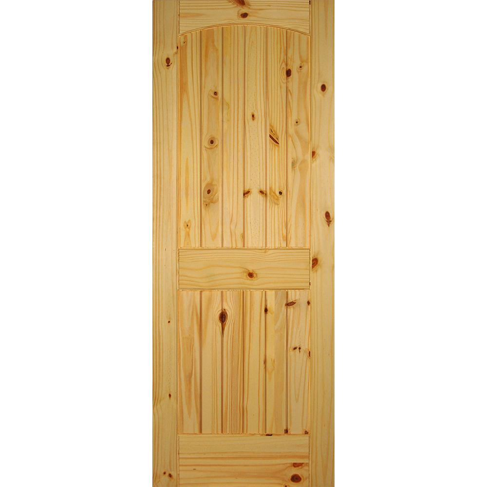 Builder's Choice 28 in. x 80 in. 2-Panel Solid Core Unfinished Arch Top V-Grooved Knotty Pine Single Prehung Interior Door