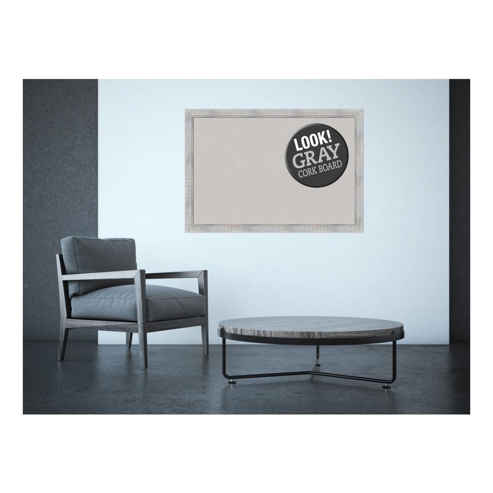 Sonoma White Wash Wood 39 in. x 27 in. Framed Grey Cork Board