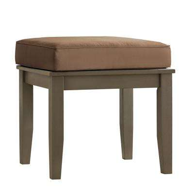 Verdon Gorge Gray Rectangle Oiled Wood Outdoor End Table with Brown Cushion