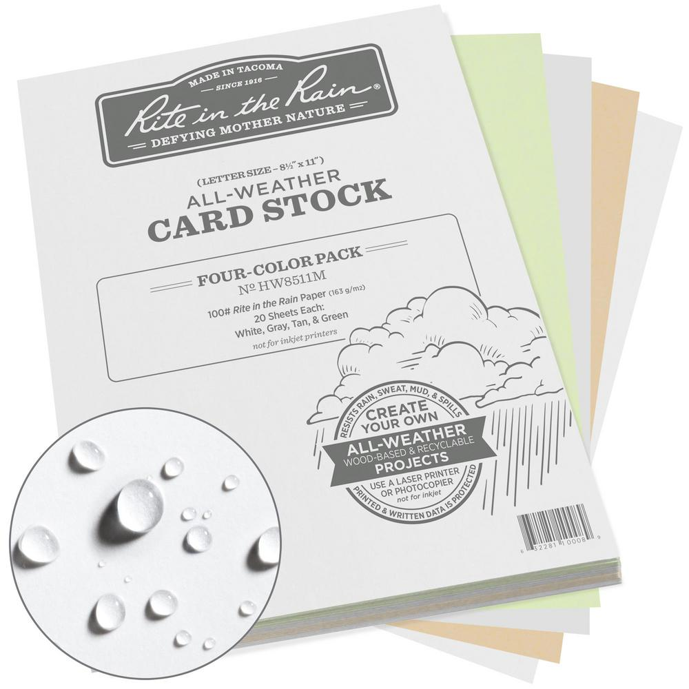 All-Weather 8.5 in. x 11 in. 100 lbs. Card Stock, Multi-Color