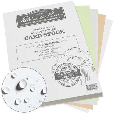All-Weather 8.5 in. x 11 in. 100 lbs. Card Stock, Multi-Color (20-Sheets of White, Green, Tan and Gray, 80-Sheet)