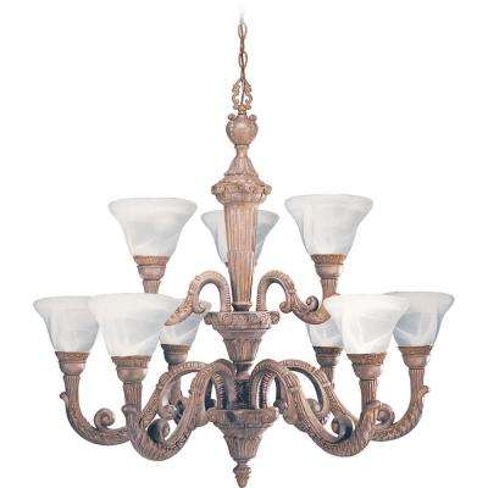 Manchester 9-Light Interior/Indoor Prairie Rock Hanging Chandelier with White Alabaster Glass Bell Shades