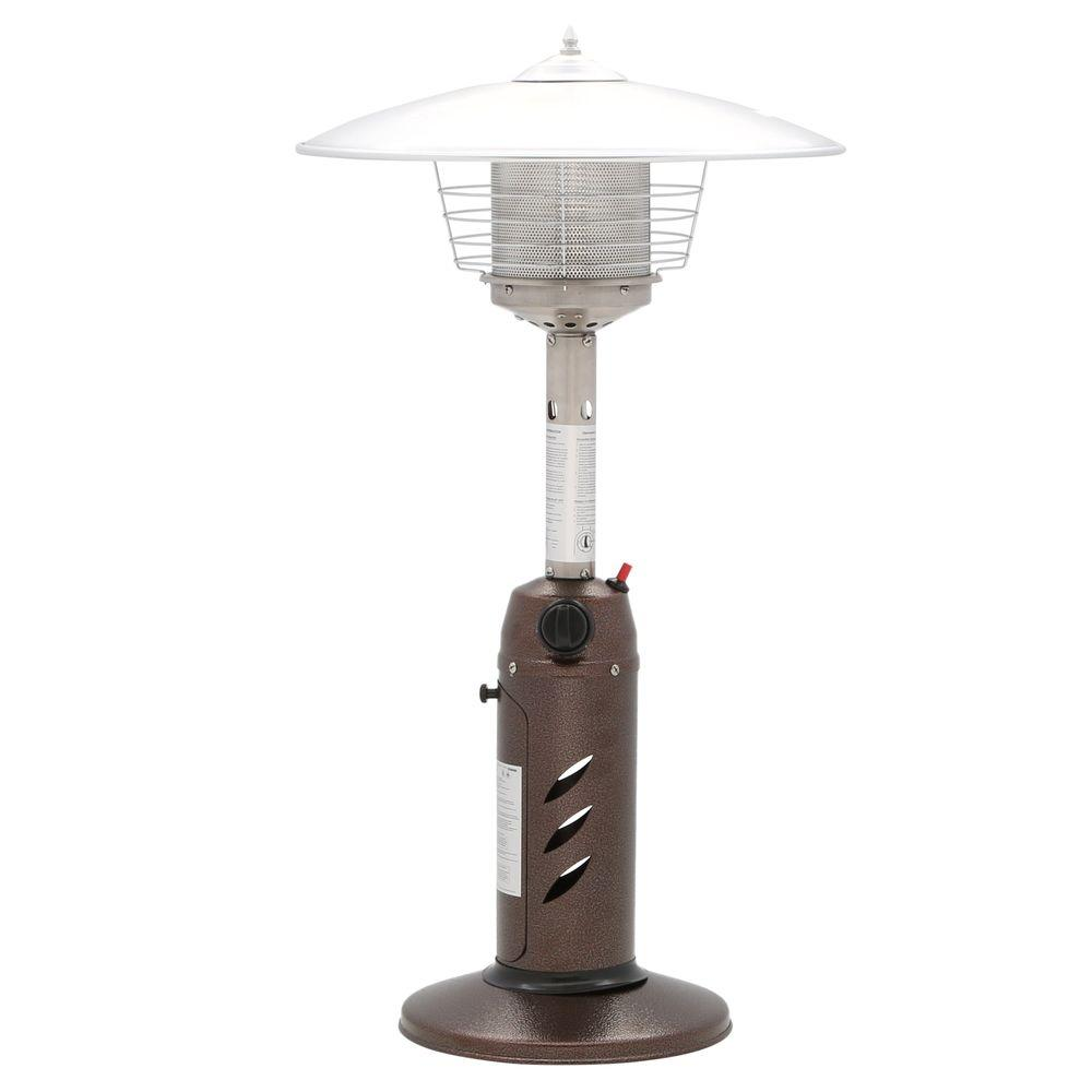 Propane patio heater with table Fire Sense Hampton Bay 11000 Btu Powder Coated Bronze Tabletop Propane Patio Heater The Home Depot Hampton Bay 11000 Btu Powder Coated Bronze Tabletop Propane Patio