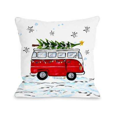 Christmas Bus 16 in. x 16 in. Decorative Pillow