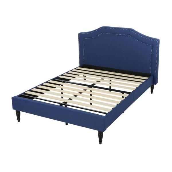 Noble House Fairlane Queen Fabric Upholstered Navy Blue Bed Frame 65602