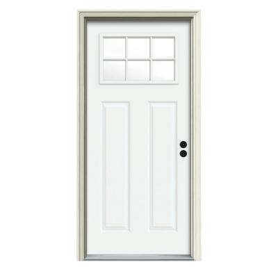30 in. x 80 in. 6 Lite Craftsman White Painted Steel Prehung Left-Hand Inswing Front Door w/Brickmould