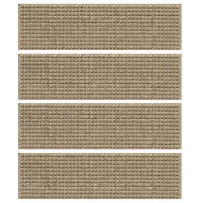 Khaki 8.5 in. x 30 in. Squares Stair Tread Cover (Set of 4)