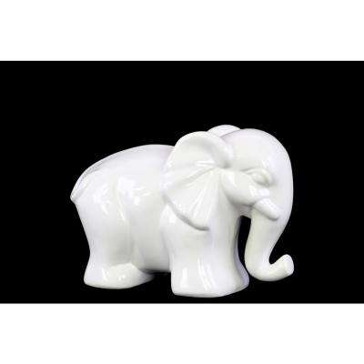 4.5 in. H Elephant Decorative Figurine in White Gloss Finish