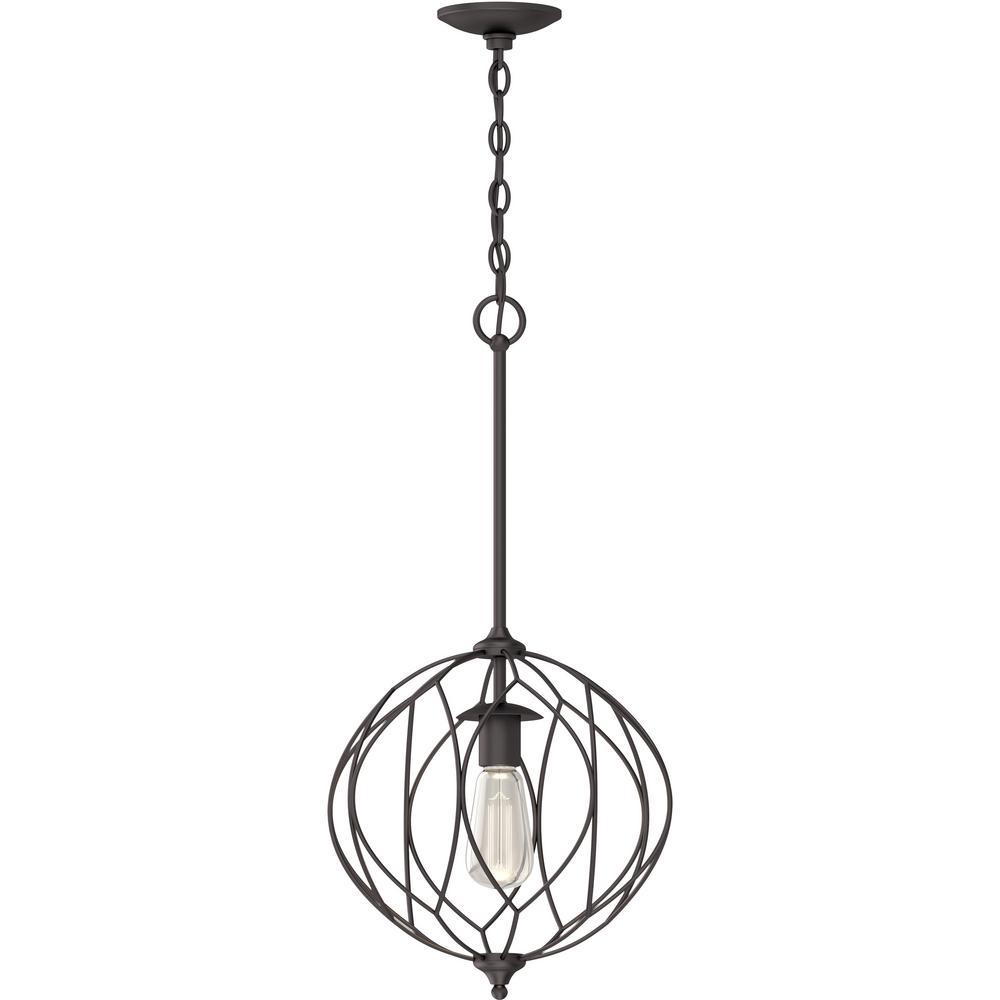 1-Light Indoor Antique Bronze Sculptural Round / Globe / Orb / Sphere Hanging Pendant