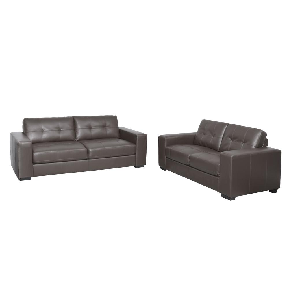 Club 2-Piece Tufted Brownish-Grey Bonded Leather Sofa Set