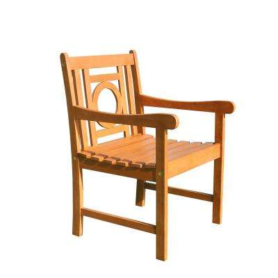 Malibu Collection 1-Piece Wood Color Patio Dining Chair