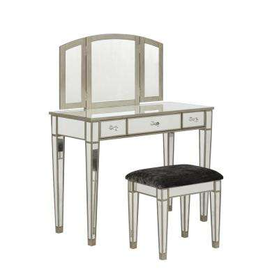 Kathryn 2-Piece Mirrored Vanity Set