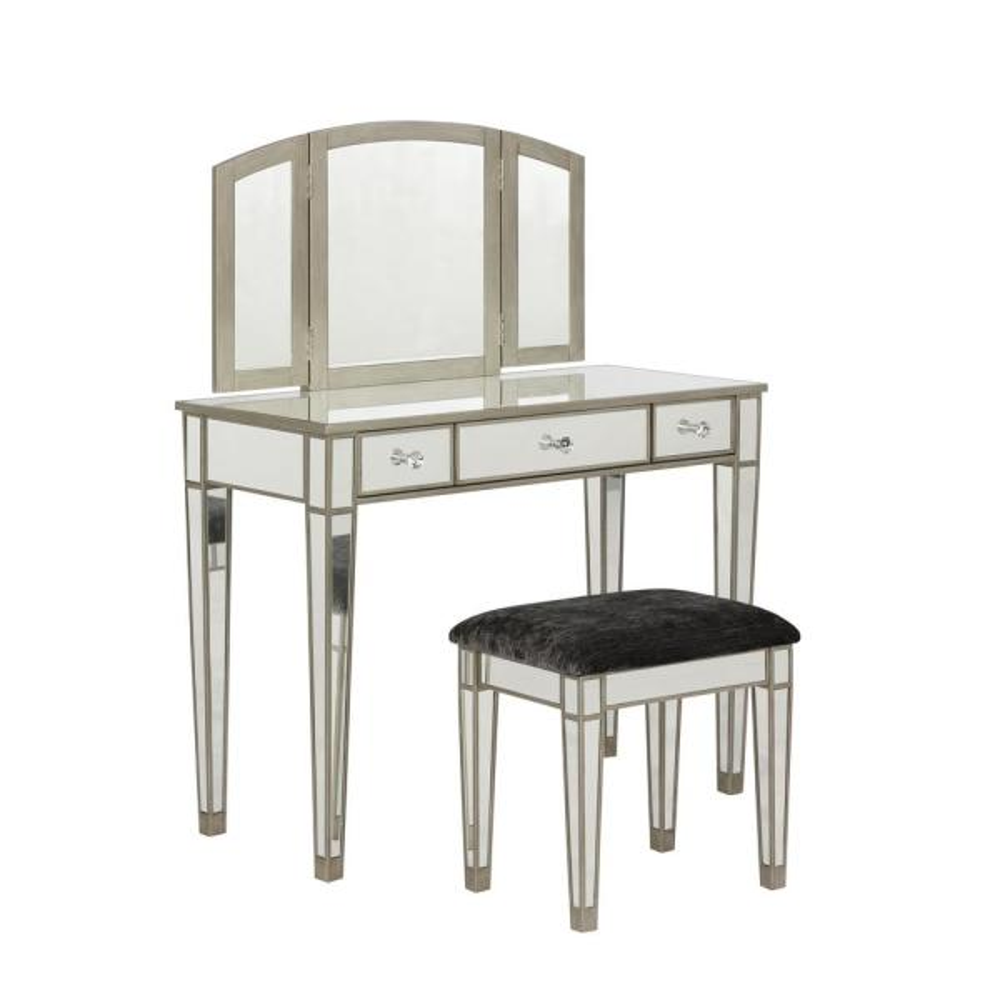 Linon Home Decor Kathryn 2-Piece Mirrored Vanity Set